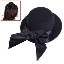 Free Shipping Ladies Mini Top Hat Fascinator Burlesque Millinery Headwear w/ Bowknot - Black