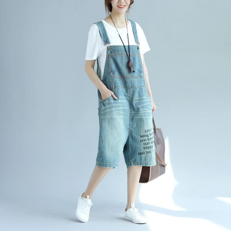 Women Casual Knee Length Jeans Ladies Denim Overalls Denim Letter Print Bleached Patchwork JumpsuitsÎäåæäà è àêñåññóàðû<br><br>
