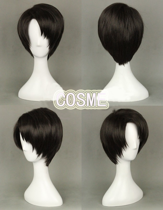 Cos cosplay SNK Attack on titan Shingeki no Kyojin Levi wig wigs hair with cap<br><br>Aliexpress