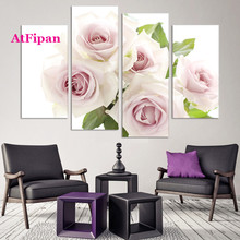 AtFipan  Unframed Romantic Rose Painting Canvas Wall Spray Painting Modern Decorative Canvas Art Work Prints On The Living Room