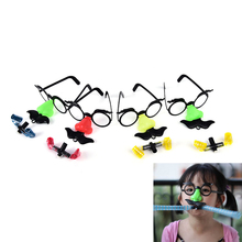 2PCS Funny Clown Nose Mustache Glasses Whistle Costume Ball Round Frame False Nose blow out dragon Joke trick toy Random color(China)