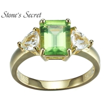 1.80ct Manchurian Peridot With .93ctw Wht Topaz 18k Gold Over Silver Ring