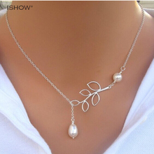 Long chain pendant necklace for women Mulher colliers vintage choker gold-color necklaces to leaf statement Collane collar