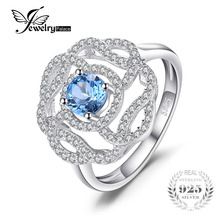 JewelryPalace High Quality 1ct Natural London Blue Topaz Flower Ring 100% 925 Sterling Silver Ring For Women Party Fine Jewelry(China)