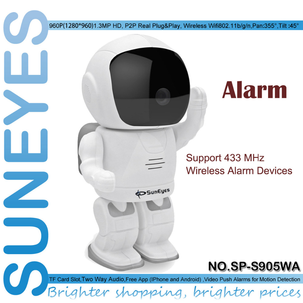 SunEyes SP-S905WA Wireless Alarm Robot 1.3MP HD IP Camera Support Pan/Tilt Two Way audio and One Key to Add 433MHZ Alarm Devices<br>