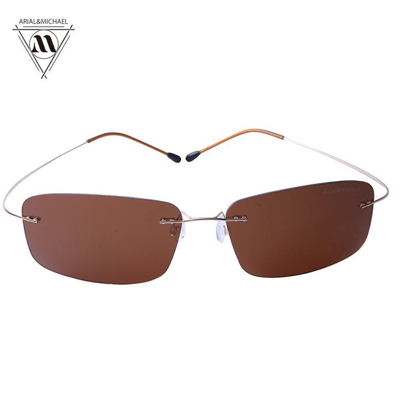 Arial&amp;Michael Men Anti-Glare Eye Protection Rectangle Spectacles HD Polarized Brown Nylon Lens Titanium Bridge Sun glasses 8207<br><br>Aliexpress