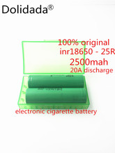 Dolidada 100% Original 18650 25R INR1865025R 20A discharge lithium batteries, 2500mAh electronic cigarette Power Battery