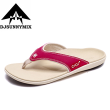 Buy DJSUNNYMIX Luxury Brand 2018 New Men's Flip Flops Genuine Leather Slippers Summer Fashion Beach Sandals Shoes Men for $21.55 in AliExpress store