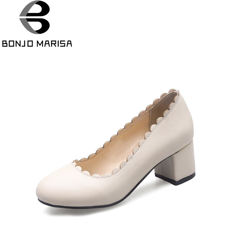 BONJOMARISA 2018 Spring Autumn New Elegant Lace Beige Pumps Plus Size 32-46 Shallow Shoes Woman Med Chunky Heels Women Shoe<br>