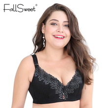 FallSweet D E cup Lace Push Up bra for Plus Size Women 44 46 48 50 Women Large Cup Bras Brassiere(China)