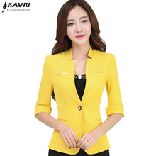 Professional women half sleeve blazer fashion OL office suit jacket plus size work wear formal uniform Yellow White Black Rose