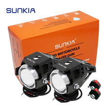 2Pcs/Lot SUNKIA Motorcycle Spotlights Auxiliary Lamp Bright U5 3 Modes LED Motobike Headlights Driving Fog Light With Swith(China)