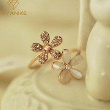 Opal Double Daisy Flower Adjustable Ring Cute Brand Design Rhinestone Hot Sale Rings For Women Fine Jewelry Anel New XY-R7(China)