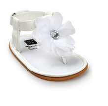 Cute Infant Baby Girls Leather Sandals Accessories Shoes Summer Kids Flower Black White Red Blue Prewalker Soft Crib Sole Shoes