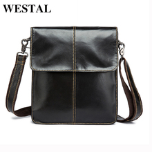 WESTAL Simple Genuine Leather Men Bag Man Crossbody Shoulder Bag Men Small Business Bags Male Messenger Leather Bags Coffee 8821(China)