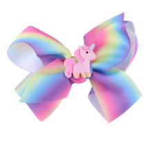 Newest Big bowknot Girl Hair Band Satin Ribbon unicorn hairpins girl barrette colorful bow hair clip jojo Hair Accessories 12cm