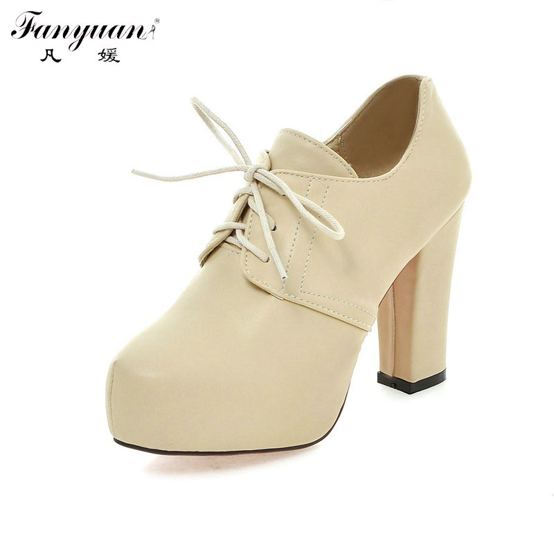 Fanyuan New Platform Shoes Womens Thick High-heeled Booties Lace up Girls Small Big Size Lace-Up Sweet Boots Red Beige Pumps<br><br>Aliexpress