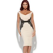 New Fashion sexy low neck sleeveless work dress beige with lace plus size dresses best selling trendy bodycon women dress 152