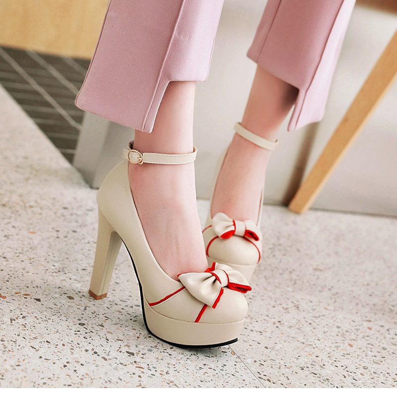 New 2018 Women's Pumps, Platform High Heels, Ankle Strap, Bow-knot 14