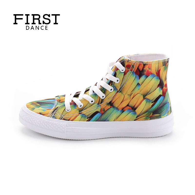 FIRST DANCE Women Classic Canvas Shoes 2018 Customized Fashion 3D Flower Print Walking Shoes Personality High Top Casual Shoes <br>