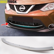 FIT FOR 2014 2015 2016 NISSAN QASHQAI CHROME FRONT GRILL GRILLE ACCENT COVER LOWER MESH TRIM MOLDING STYLING BEZEL GARNISH 2017(China)