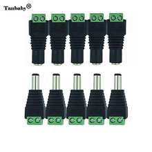 Tanbaby 5pcs Female +5 pcs Male DC connector 2.1*5.5mm Power Jack Adapter Plug Cable Connector for 3528/5050/5730/5630 led strip(China)