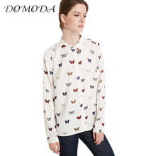 DOMODA Apparel Butterfly Print Sweet Female Blouse Shirt Cute Preppy Casual Slim Women Shirt Tops Spring Lovely Basic Blouse