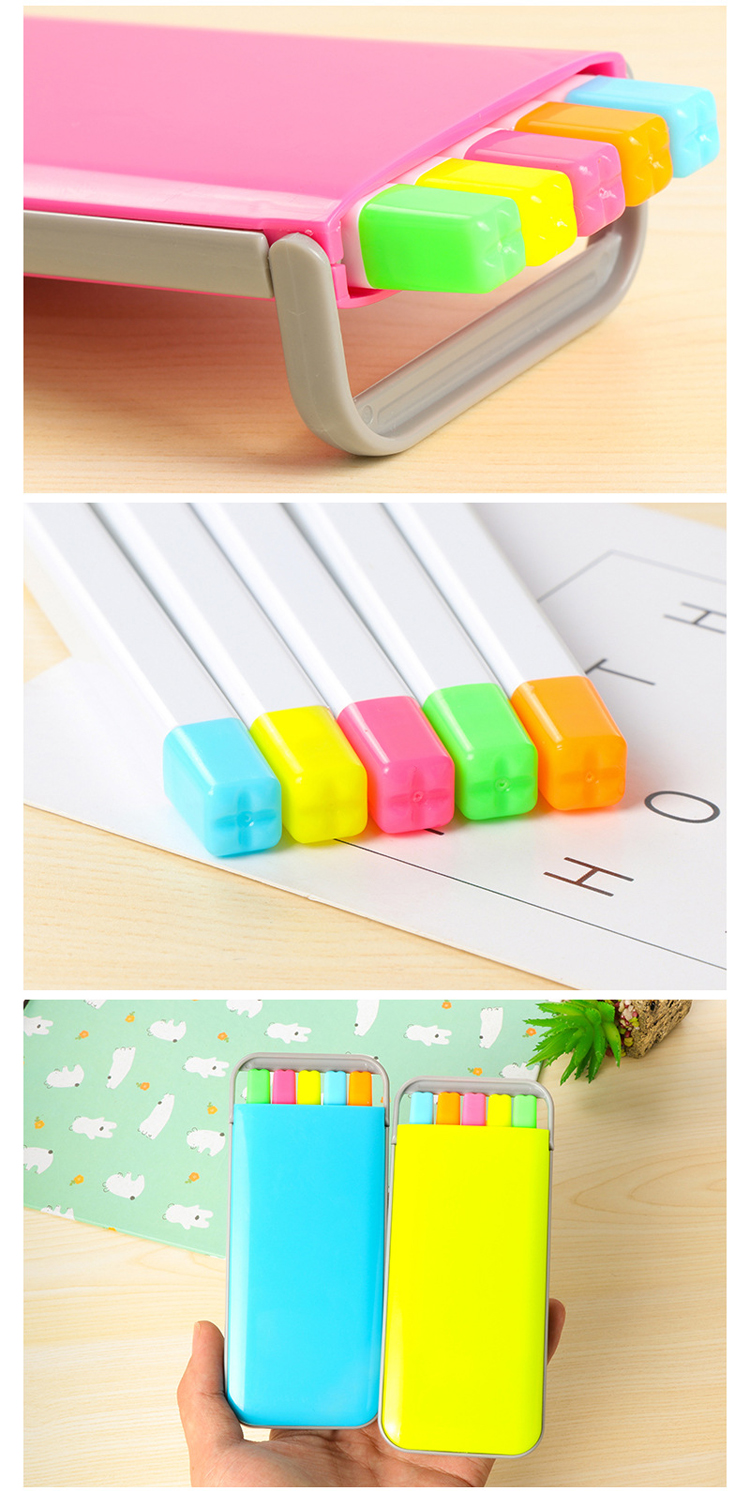 5 pcs/box Kawaii Mini Candy Colors Highlighter Pens Set Cute Kids Painting Drawing Highlighter Art Marker Pen Writing Stationery 4
