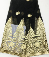 SA2887(14)High quality fashion Black+Gold African lace fabric with sequins,French net lace for wedding dress with 5yards/pieces!