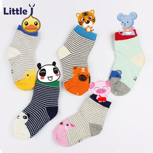 5 Pairs/Lot Child Cartoon Stripe Socks Baby Boys Girls Foot Socks Toddler Clothing Accessories Cotton Animal Children's Socks(China)