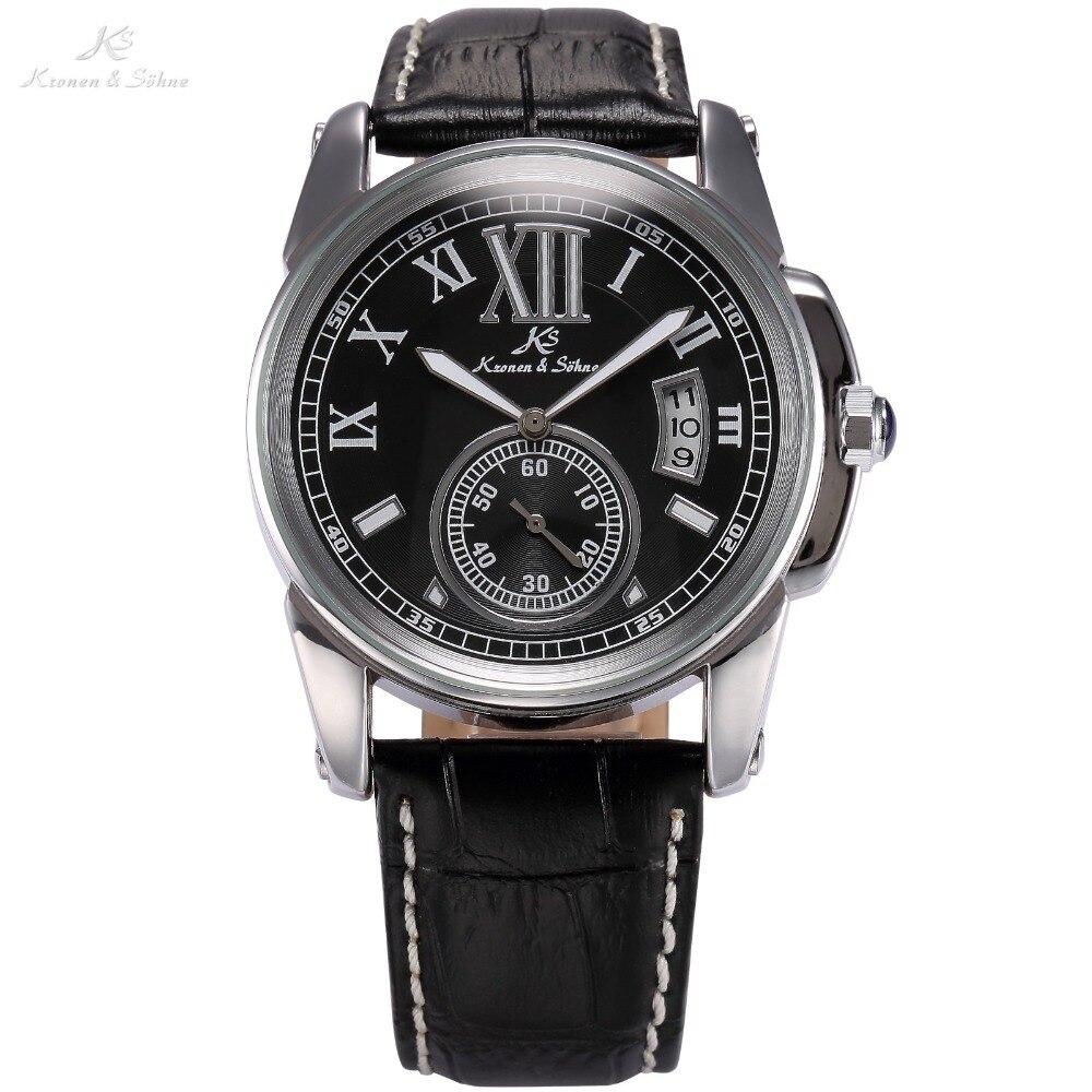 Classic KS Mens Black Roman Relogio Automatic Mechanical Luminescent Date Leather Strap Analog Self-Winding Watch Gift / KS066<br><br>Aliexpress