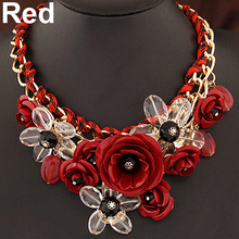 2017 Hot Selling Women Statement Choker Flower Necklace Bib Collar Pendant Fashion Jewelry(China)
