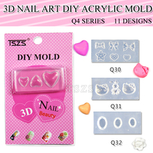 8pcs/lot Q4 series(Q29-Q39) 3D Acrylic Mold Nail Art Tips Decoration Silicon Mould Set Manicure Kit NEW