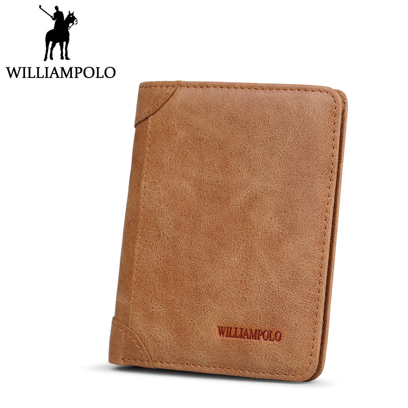 Williampolo Vintage Slim Wallet Small purse wallet Men Genuine Leather Wallet kawaii Mini Pouch Front Pocket Money Clip Male <br>