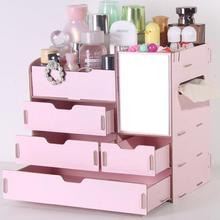 1PC Wooden Jewelry Storage Box Containing Rack Multi Drawer Mirror Cosmetic Dressing Makeup Organizer Wooden Box Girl Gift 3(China)
