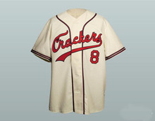 1957 Atlanta Crackers 8 Baseball Jersey Custom Stitched Beige Throwback Baseball Jerseys Free Shipping Viva Villa