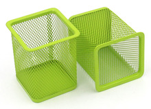 2 Pcs 2.5 inch Square Mesh Pen Pencil Holder Desk Organizer for Home Office Supply Caddy , 4 Colors Choose