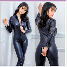 Buy Hot Sexy Lingerie Latex Erotic PVC Catsuit Costumes BodySuits Fetish Double Zipper Long Sleeves Open Crotch Pole Dance Clubwear
