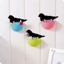 1pcs Creative Bird's Nest Bathroom Small Objects Receive Box Plastic Hanging Wall Mini Cosmetics Sundry storage Container Box