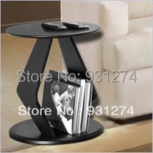 ONE LUX Black Modern  Acrylic round top coffee table with magazine rack ,Lucite Perspex Sofa Tables