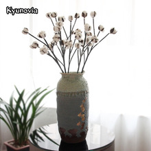Kyunovia 6 Heads Dried Cotton Branch Artificial Flower Wedding Decoration Flowers Home Hotel Table Flower Arrangements KY50(China)