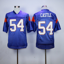 Blue Mountain State Football Jersey 54 Thad Castle Blue 7 Alex Moran Stitched Movie TV Show Jerseys Free Shipping Viva Villa(China)