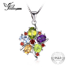 JewelryPalace Flower Multicolor 3.1 ct Natural Amethyst Garnet Peridot Citrine Blue Topaz Pendant 925 Sterling Silver No Chain