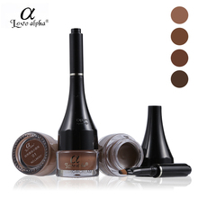 Love Alpha Eyebrow Makeup Kit 24H Waterproof Eyebrow Cream Natural Color Eye Brow Gel with Brush(China)