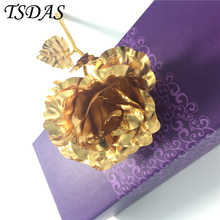 Only 1pc Graceful 24K Gold Dipped Rose And Beautiful Artificial Gold Rose Flowers For Decorative