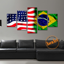 5 piece  American Brazil Flag Painting HD Canvas Prints Paintings Home Decor Wall Art Picture for Living Room Framed Artwork