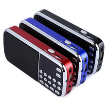 Portable Digital Stereo FM Mini Radio Speaker Music Player with TF Card USB AUX Input Sound Box with Display and flashlight
