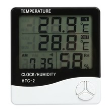 LCD Digital Thermometer Hygrometer Indoor Electronic Temperature Humidity Meter Clock Weather Station Household Thermometers(China)