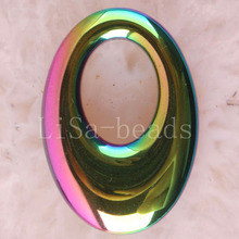 Fashion Jewelry 25X35MM Oval Non-Magnetic Hematite Pendant 1Pcs K043