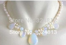 Free shipping Real White Pearl Blue Fire Opal Silver Clasp Necklace #1731